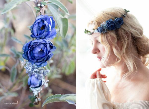 Teona Haarkranz Blumen blau Blumenkranz Haarschmuck-17