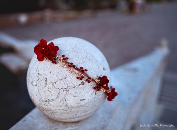 Vermello Braut Haarschmuck Rot-06