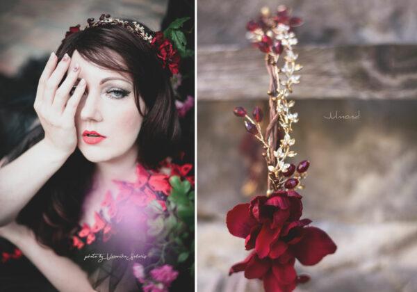 Vermello Braut Haarschmuck Rot-10