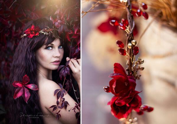 Vermello Braut Haarschmuck Rot-11