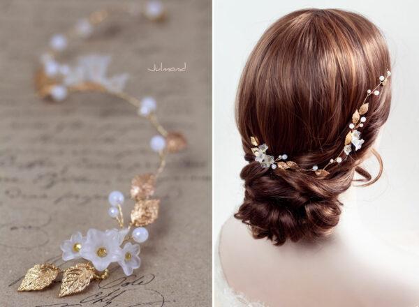 Vesha Haarband Hochzeit Gold Haarschmuck Diadem-04