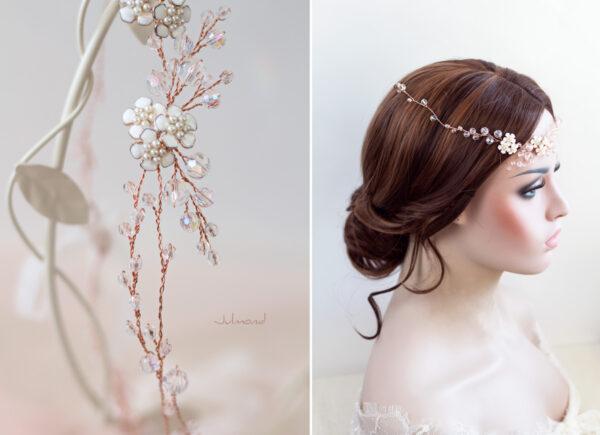 Victoria Diadem Tiara Hochzeit Perlen Rosegold-08