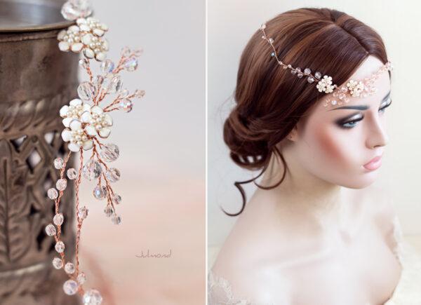 Victoria Diadem Tiara Hochzeit Perlen Rosegold-09