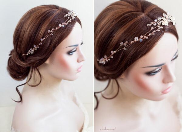Victoria Diadem Tiara Hochzeit Perlen Rosegold-10