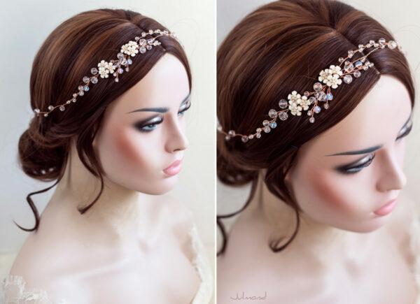 Victoria Diadem Tiara Hochzeit Perlen Rosegold-11