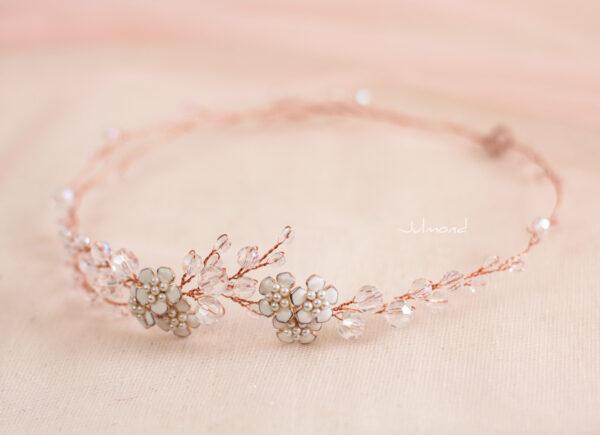 Victoria Diadem Tiara Hochzeit Perlen Rosegold-13